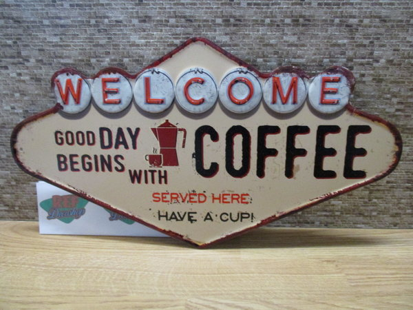 Welcome good day begins with coffee 49 x 27 cm